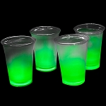Cool Glow 12oz. Cups with collars and 50 Super Bright Shorties, Green (50 Pack)
