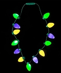 LED Mardi Gras Bulb Necklace: Green/Yellow/Purple