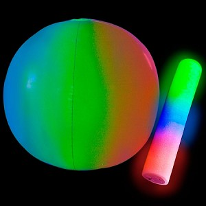 "Giant Beach Ball with LED Stick - 24"" Diameter- 5 pack"