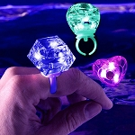 LED Diamond Bling Rings Assorted Shapes 24pk