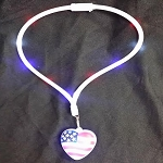 Light Up Patriotic Heart Pendant LED Necklace Lanyards