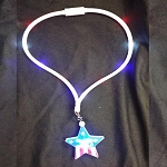 Light Up Patriotic Star LED Pendant Necklace Lanyard