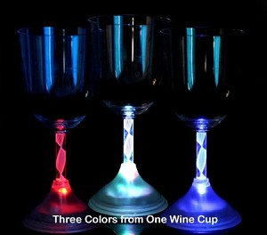 Flashing 10 oz. Wine Glass Red/White/Blue